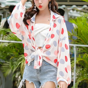 Polka Prints Loose Summer Wear Shirt - Red