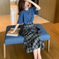Two Pieces Square Prints Skirt With Casual T-Shirt - Blue