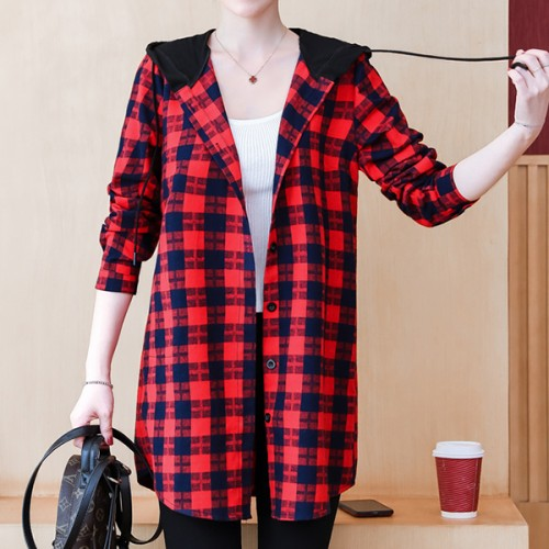 Check Prints Button Up Hoodie Casual Outwear Shirt - Red
