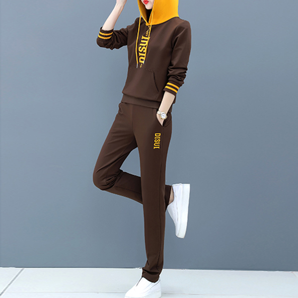 Casual Sportswear Long Sleeve Two Piece Suit - Coffee
