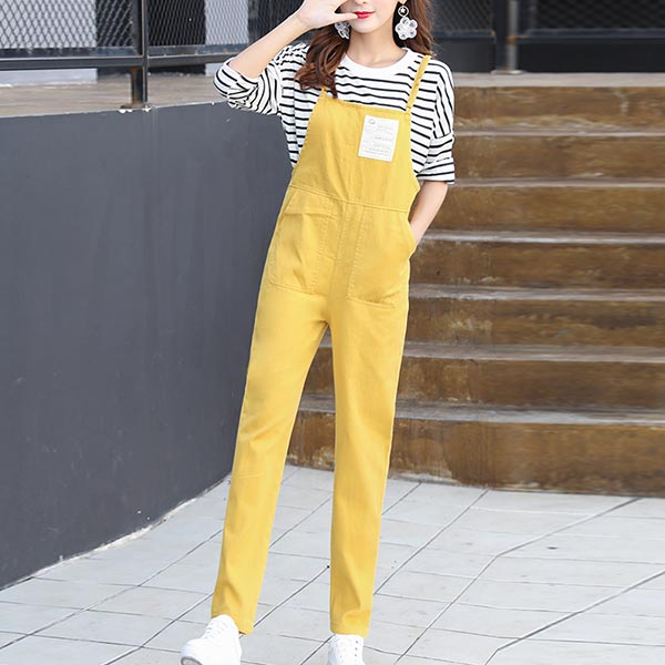Long Length Narrow Width One Piece Bib Skirts - Yellow