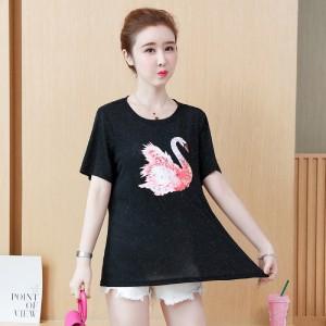 Duck Prints Round Neck Short Sleeves T-Shirt - Black