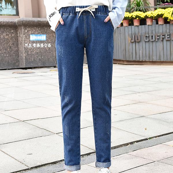 Drawstring Waist Elastic Pocket Jeans Bottom - Dark Blue