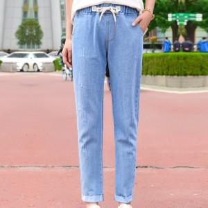 Drawstring Waist Elastic Pocket Jeans Bottom - Blue
