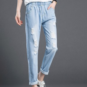 Ripped Off Elastic Dual Pocket Jeans - Blue