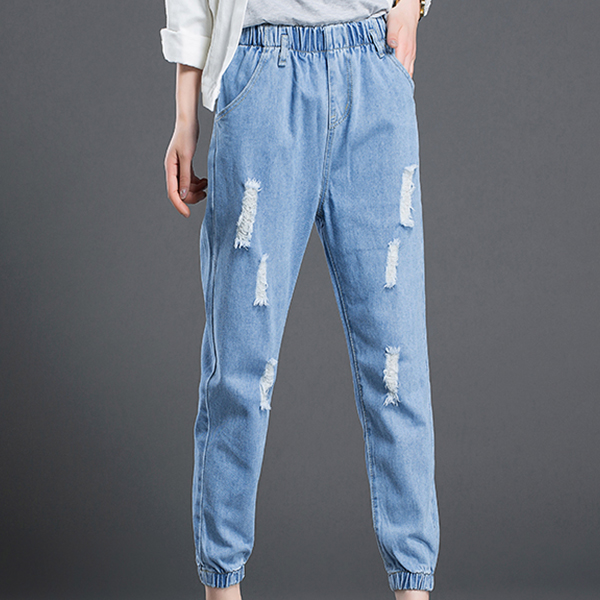 Shredded Elastic Waist Denim Jeans Bottom