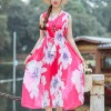 Floral Prints Elegant Summer Beach Wear Dress - Pink