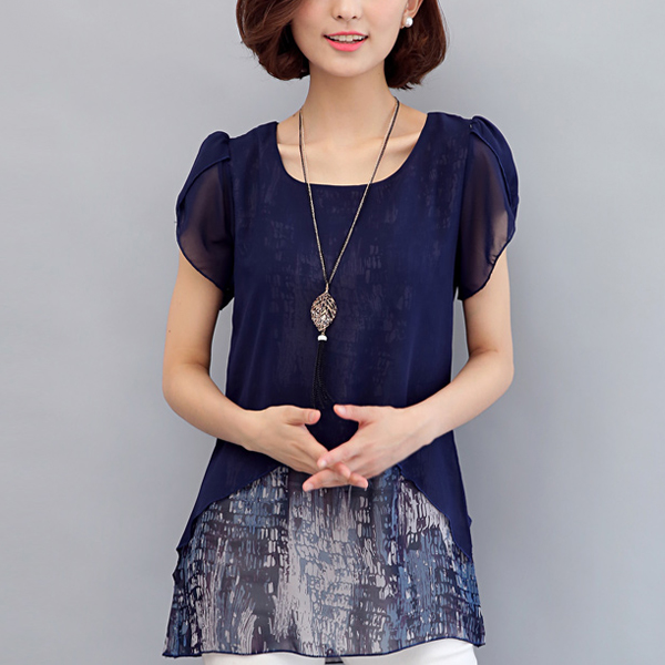 Two Layer Transparent Printed Blouse Shirt - Dark Blue