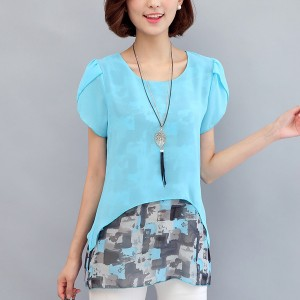 Two Layer Transparent Printed Blouse Shirt - Sky Blue