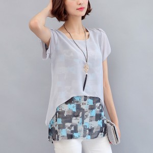 Two Layer Transparent Printed Blouse Shirt - Grey