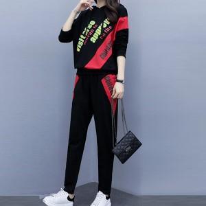 Long Sleeves Letter Pattern Two Piece Sport Suit - Black