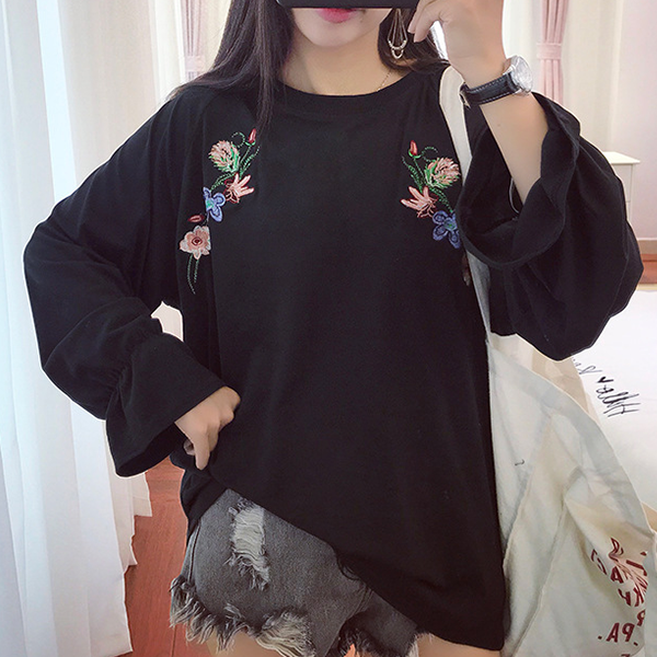 Speaker Sleeves Embroidered Loose Shirt - Black