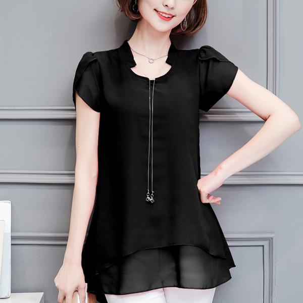 Chiffon Short Sleeves Ruffled Summer Blouse Shirt - Black