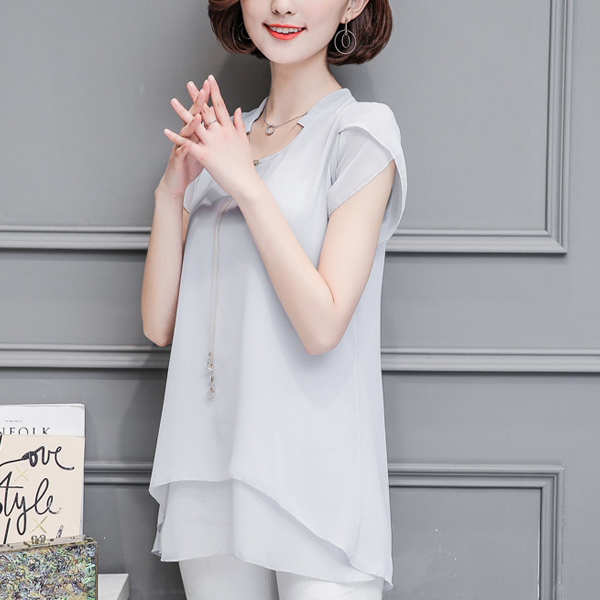 Chiffon Short Sleeves Ruffled Summer Blouse Shirt - Grey