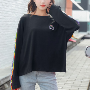 Colorful Striped Loose Boat Neck T-Shirt - Black