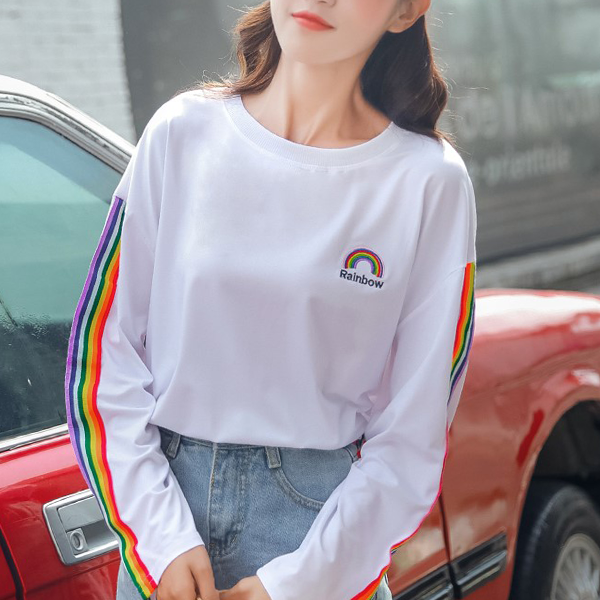 Colorful Striped Loose Boat Neck T-Shirt - White