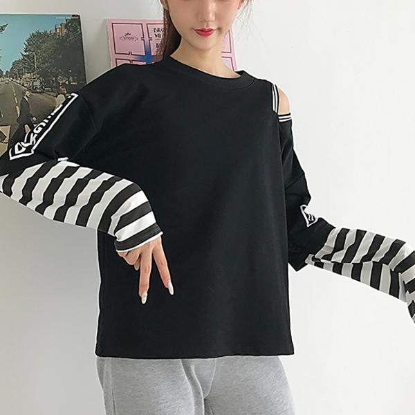 Zebra Sleeved Loose T-Shirt For Women - Black