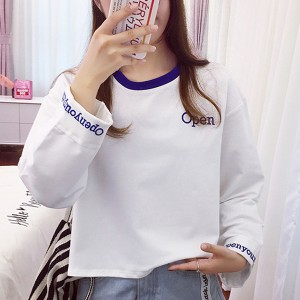 Printed Text Round Neck Blouse Shirt - White