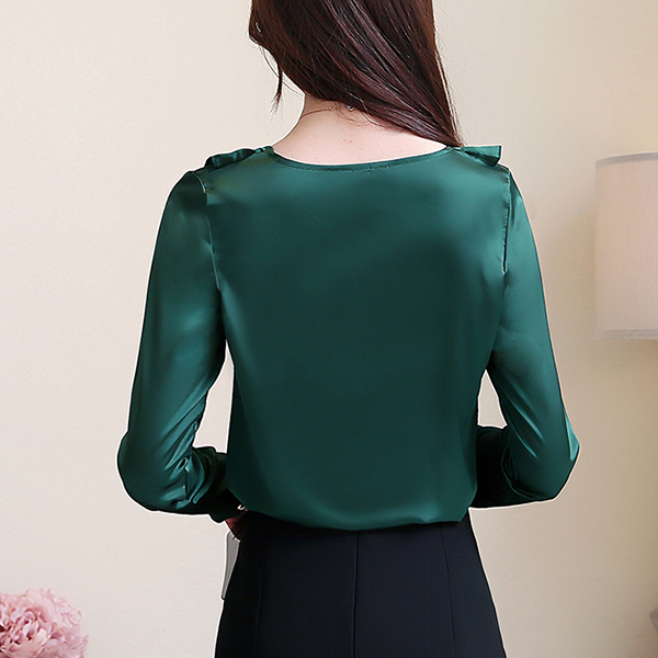 Ruffled V Neck Silky Party Wear Blouse Top - Green