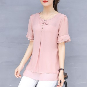 Bow Chiffon Thin Fabric Flared Blouse Top - Pink