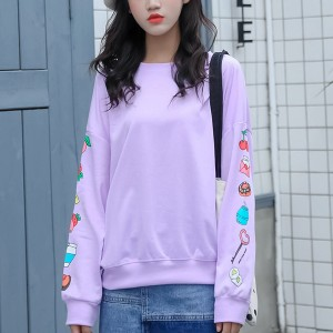 Loose Boat Neck Sleeves Printed T-Shirt - Purple
