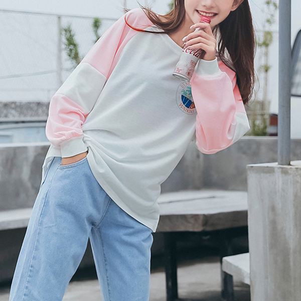 Boat Neck Contrast Casual Winter T-Shirt - Pink