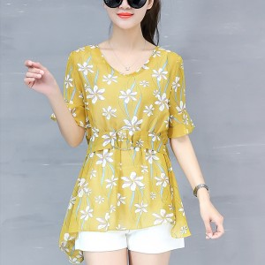 Waist Buckle Belt Floral Printed Summer Blouse - Yellow
