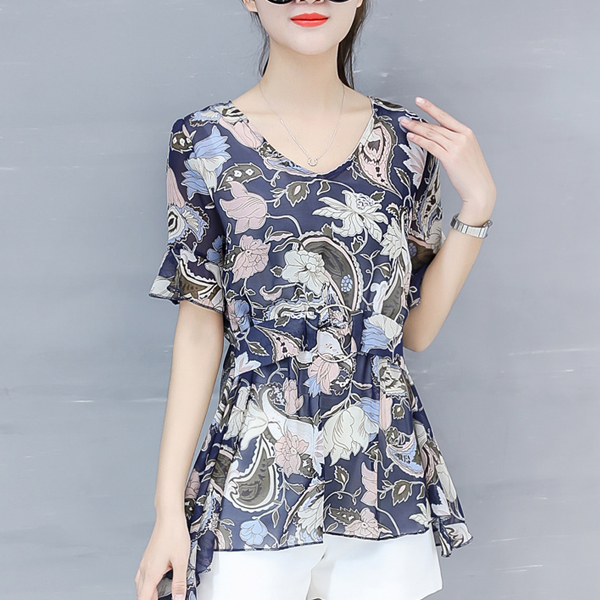 Waist Buckle Belt Floral Printed Summer Blouse - Multi Color