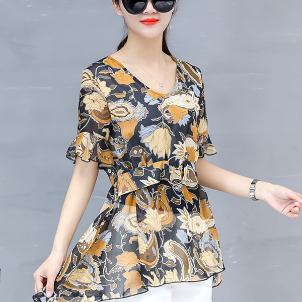 Waist Buckle Belt Floral Printed Summer Blouse - Multicolor