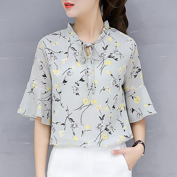 Flower Printed Short Sleeves Casual Female Shirt - Grey