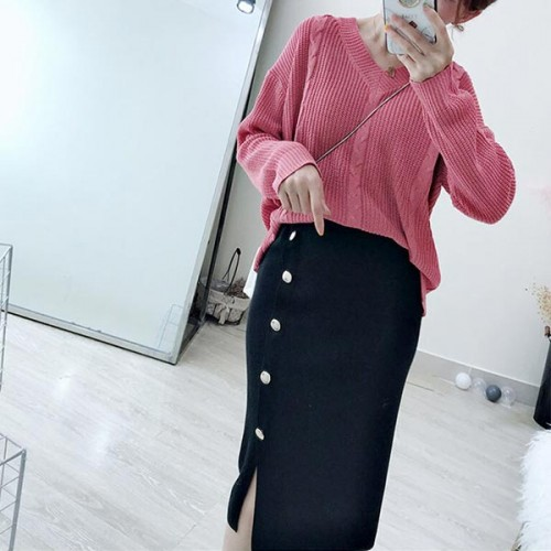 Button Decorative Casual Wearing Long Skirts - Black
