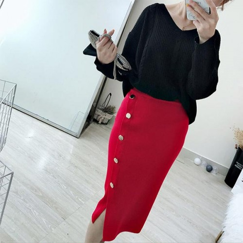 Button Decorative Casual Wearing Long Skirts - Red