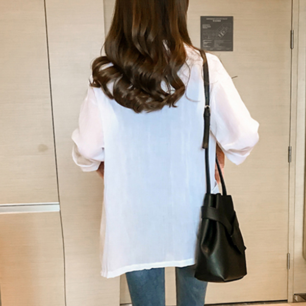 Solid Suit Neck Full Sleeves Casual Coat - White