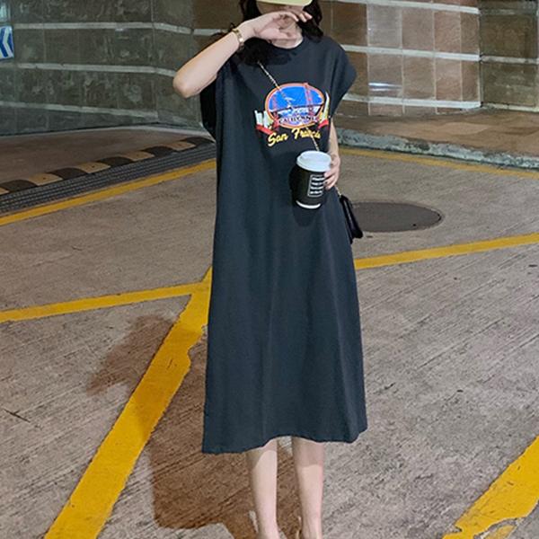 Split Hem Printed Casual T-Shirt Dress - Black