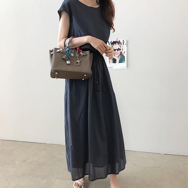 Loose Waist Elastic A-Line Pleated Dress - Dark Blue