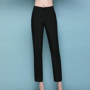 Casual Office Wearing Full Length Female Pants - Black
