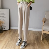 Waist Belt Pleated Narrow Bottom Casual Wear Pants - Khaki