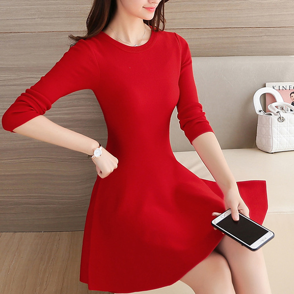 Solid Color Formal A-Line Mini Dress - Red