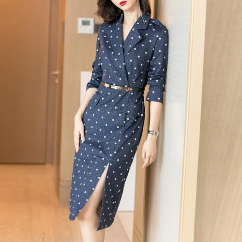 Belt Decorative Polka Dots Suit Collar Dress - Blue