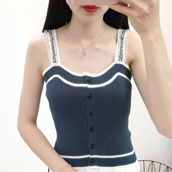 Button Up Ribbed Casual Wear Women Top - Blue