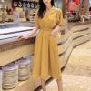 Collar Neck Short Sleeves Buckle Mini Dress - Yellow