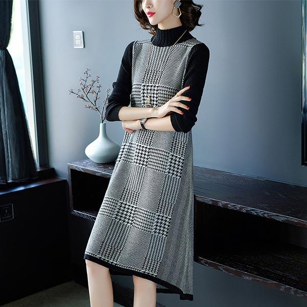 High Collar Woolen Pullover Women Long Warm Dress - Gary