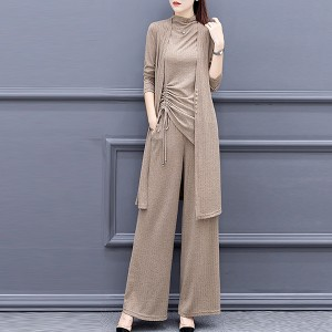 Ribbed Coat Drawstring Top Three Pieces Suit - Khaki
