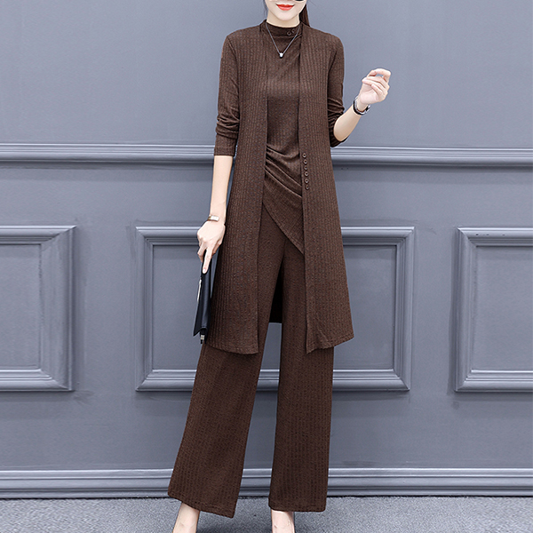 Ribbed Coat Drawstring Top Three Pieces Suit - Coffee