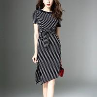 Round Neck Line Print Waist Knotted Bodycon Mini Dress