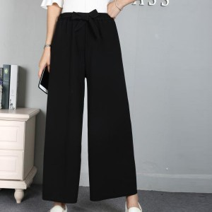 Waist Belt Loose Formal Wear Women Trouser - Black