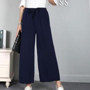 Waist Belt Loose Formal Wear Women Trouser - Dark Blue