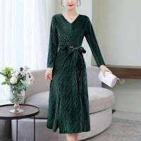 Winter Velvet Split Elastic Waist Pullover Dress - Green