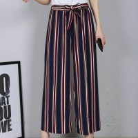 Multicolor Striped Loose Waist Belt Women Trouser