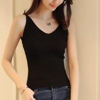 V Neck Slim Wear Strap Shoulder Blouse Top - Black